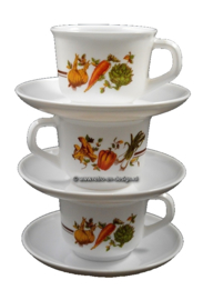 Arcopal France soupcup and saucer, vegetable pattern