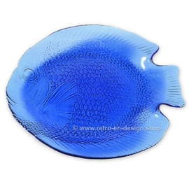 Transparant blue glass fish plate by Arcoroc France, Poisson