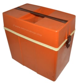 Vintage plastic cooling box or fridge box from the 70s in orange-brown and white