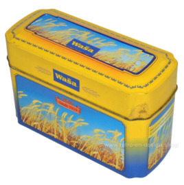 Yellow with blue tin box for Wasa Crackers with images of ripe grain