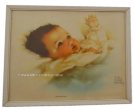 Ilustración Awakenings, Bessie Pease Gutmann en un marco de madera blanco