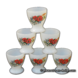 Six egg cups by Arcopal France 'Fleurs de Champetre'