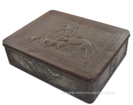 Large brocante tin box with hunting scene on hinged lid