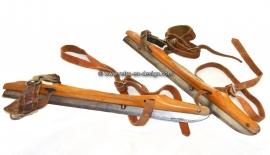 Vintage old Dutch wooden ice skates marked G.H. Nijdam, Oranjewoud, 1937-1968
