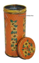 Vintage orange tin canister by VERKADE biskovite Zaandam