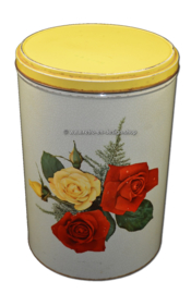 Vintage tin drum with roses, Tomado look-a-like tin