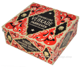 Reproduction of the original square Verkade store tin Royal Mixed with paper wrap from 1925