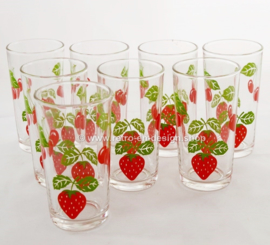 Vintage set of 8 fruit glasses with cherry and strawberry
