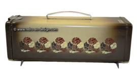 Vintage Brabantia koekblik bruin/beige bloemenpatroon