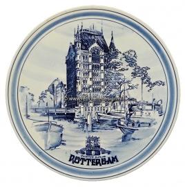 Crockery decorative plate, Rotterdam. Delfts handpainted. Witte Huis