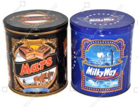 Juego de dos latas de almacenamiento vintage o latas de dulces para Mars y MilkyWay