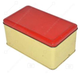 Boîte vintage de couleur crème avec couvercle à charnière rouge