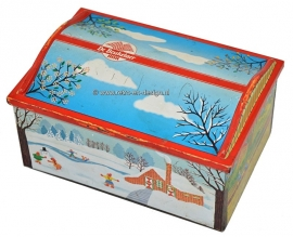 Vintage tin by Belgian cookie manufacturer 'De Beukelaer'. Four seasons