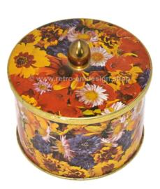 Lata multicolor con pomo y decoración floral de caléndulas, margaritas, trébol rojo y más de Côte d'Or
