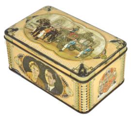 Vintage boîte étain commémoratif Juliana, Bernhard, 1937 - voiture d'or, mariage