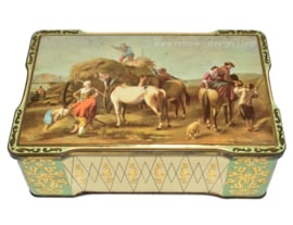 Rectangular tin drum with a harvest scene with horses
