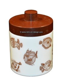 Opaline pot for mocha coffee. Saltwater or marine fish, brown lid