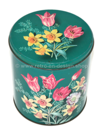 Vintage green tin for Beyers coffee Antwerp with floral decor