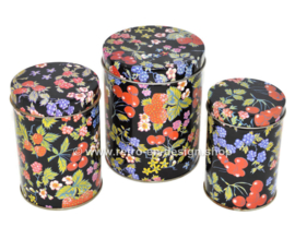 Vintage set of three nestable tins with fruit motif