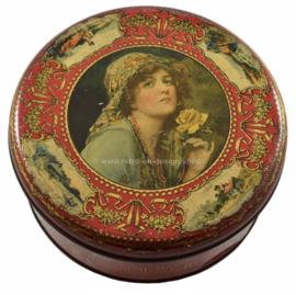 Vintage antique round toffee or candy tin by Van Melle