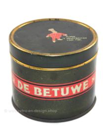 Lata de mantequilla de manzana vintage de 'De Betuwe' con Flipje, el jefe de la fruta de Tiel