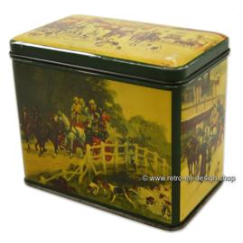 Vintage theeblik van 'De Gruyter' met jachttafereel