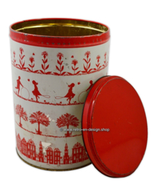 Vintage Tomado tin with old Dutch scenes, red