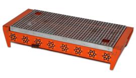 Vintage oranje Brabantia rechaud of schotelverwarmer met sterrenpatroon