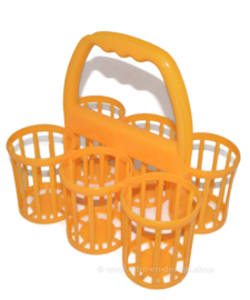 Vintage Curver yellow plastic bottle carrier, bottle holder