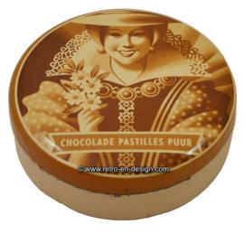 "Round tin chocolate box  ""chocolade pastilles puur"" De Gruyter"