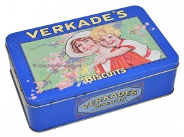 Verkade's Biscuits. Vintage cookie tin. Mother and child