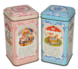 Vintage set of tins for VENZ chocolatesprinkles in pink and blue