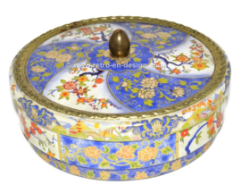Vintage Albert Heijn round blue and white cookie tin with flower decorations