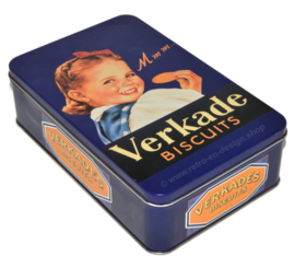 Blue vintage biscuit tin with young girl, made by Verkade... Mmm..
