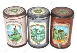 Ensemble de trois boîtes en étain vintage pour Zaanse Koeken fabriquées par Albert Heijn