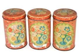 Brocante Satz von 3 Blechdosen mit Vasen mit Blumen. Für Kaffee, Zucker und Tee (niederländisch)