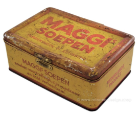 "Vintage rectangular tin in yellow and red ""Maggi soepen"""