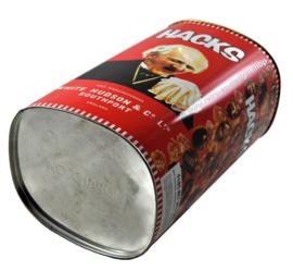 Big red HACKS tin with sneezing man