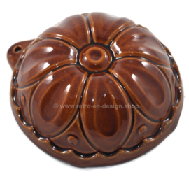 Vintage West-Germany brown earthenware / ceramic pudding mold in flower shape