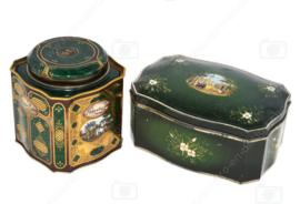 Set van twee groene vintage blikken van Douwe Egberts voor Pickwick thee