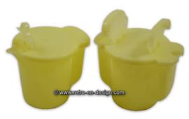 Vintage Tupperware melk- en suikerkannetje, pastelgeel