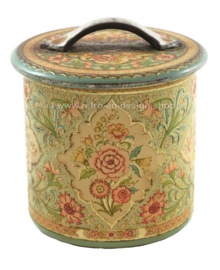 Vintage blikken trommel met bloemendecoratie en greep . Container made in Holland