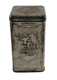 Lata de azúcar plateada hecha por De Gruyter con varias imágenes.