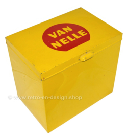 """Large, yellow vintage shop counter tin with the brand name """"Van Nelle"""" in a red circle on the lid"""