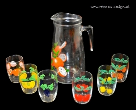 Set of fruit glasses and jug