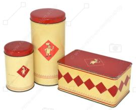 Ensemble vintage de trois boîtes Bolletje. Boîte de biscottes, boîte de biscottes et biscuit