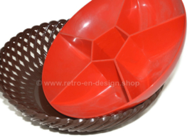 Vintage 60s / 70s braided plastic snack bowl made by Emsa™ in brown and red