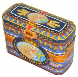 Boîte de rangement vintage pour Wasa Crispbread. Le pain croustillant croustillant de Suède