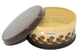 Vintage Brabantia biscuit tin with stylized roses in brown