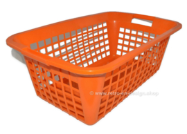 Orange vintage plastic laundry basket